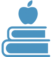 Books with apple on top icon